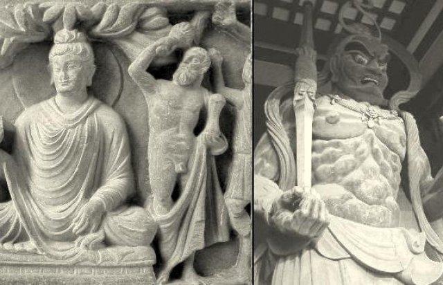 Геракл-Ваджрапани, как защитник Будды, и как Сюконгосин, воплощение Ваджрапани в Японии.