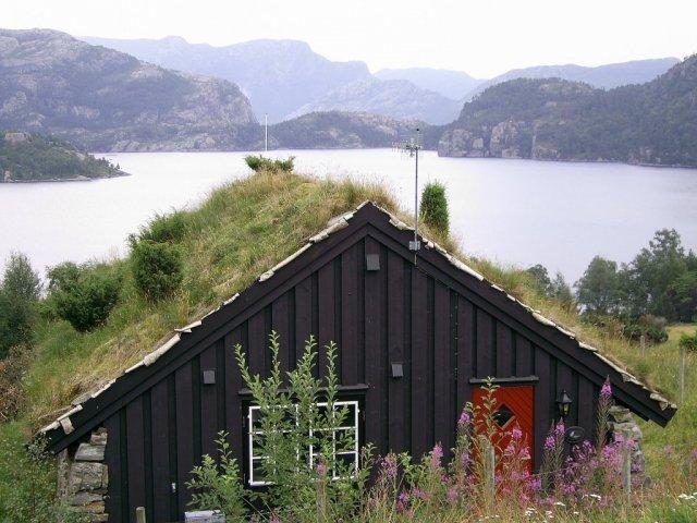 Домик с крышей, покрытой  березовой корой, торфом и травой