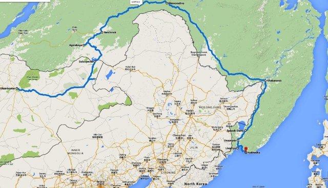 Мой маршрут из Монголии через Хабаровск к Японскому морю
