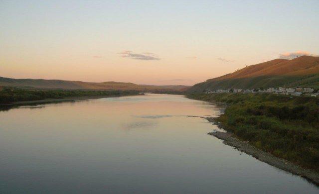 Река Шилка после захода солнца