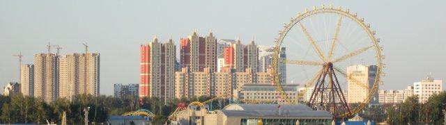 Вид на китайский город Хэйхэ  на следующее утро