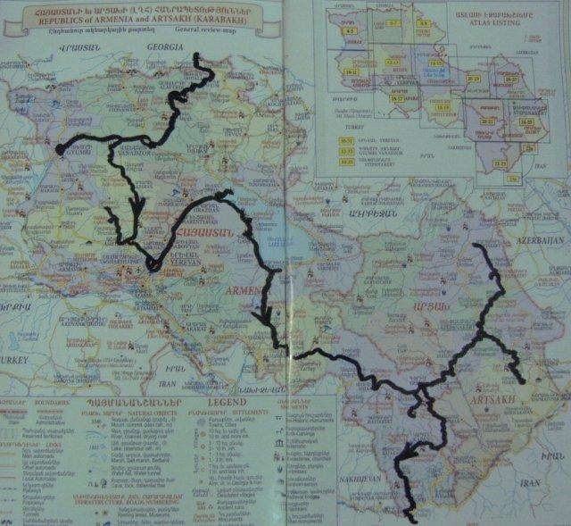 На карте черной линией отображен мой маршрут через Армению и территорию непризнанной Нагорно-Карабахской Республики