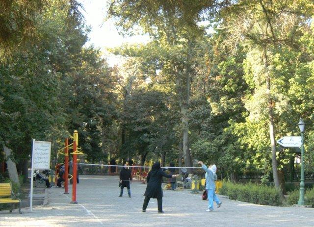 Иранцы занимаются спортом в парке