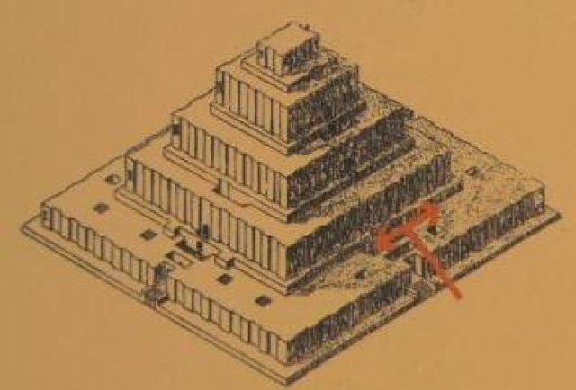 Схема ступенчатой пирамиды с храмом (Зиккурат) на вершине