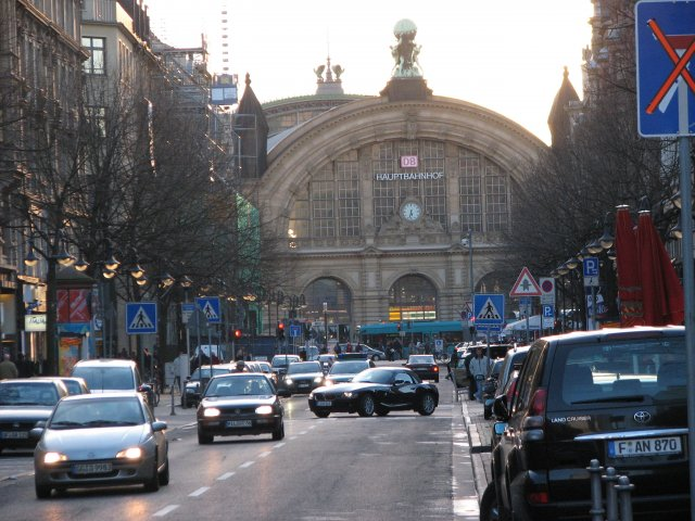 Вид на вокзал из центра города, Франкфурт-на-Майне