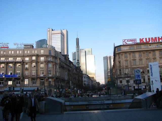 Вид на центр города от вокзальной площади, Франкфурт-на-Майне