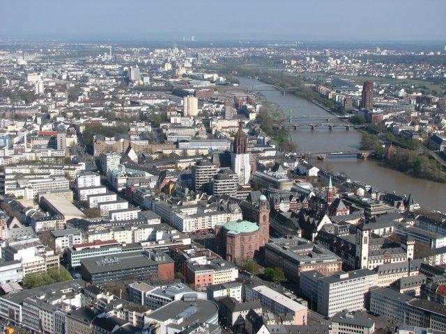 Вид со смотровой площадки на исторический центр города, Франкфурт-на-Майне
