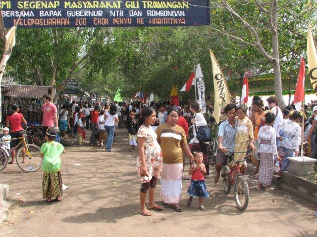 Главная улица острова Джили Траванган, Индонезия