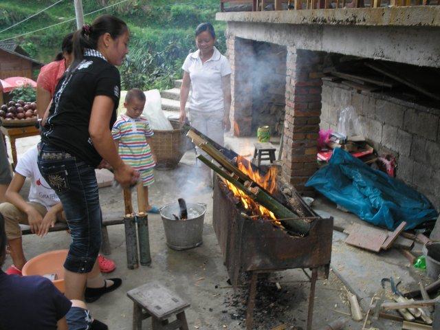 Приготовление риса в бамбуке, Пинган