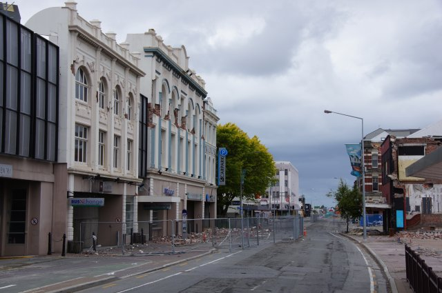 Разрушенная часть центра города Крайстчерч, Новая Зеландия