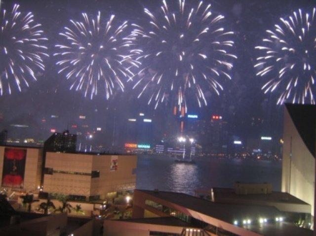 Новогодний салют в Гонгконге