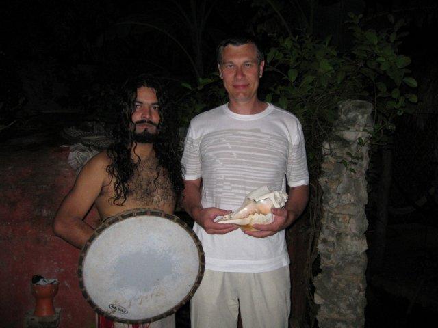 Фото с шаманом в Темаскаль, Мексика