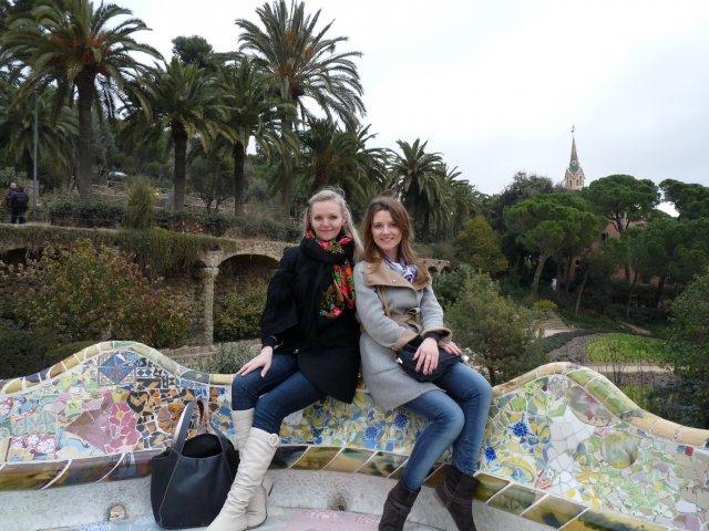 Я с Ксенией, Парк Гуэль в Барселоне, Испания
