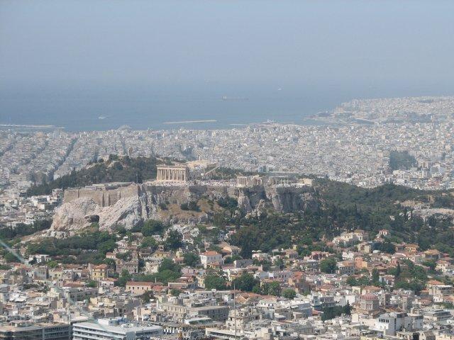 Акрополь и Пирей с холма, Греция