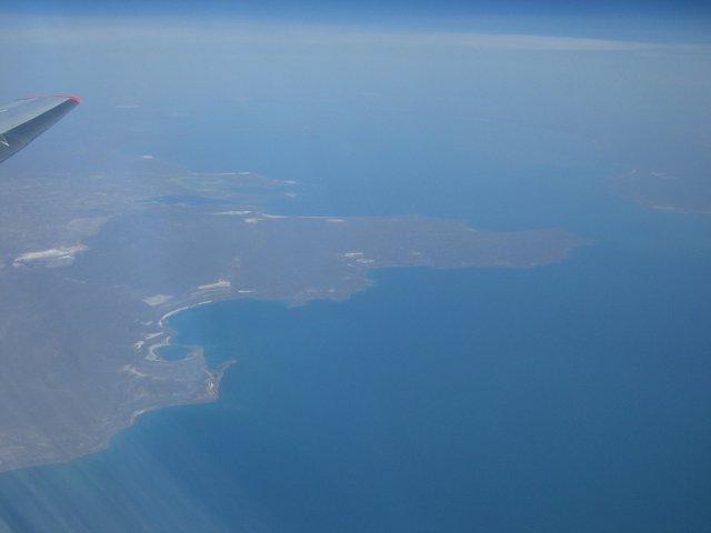 Озеро Балхаш из самолета, Казахстан