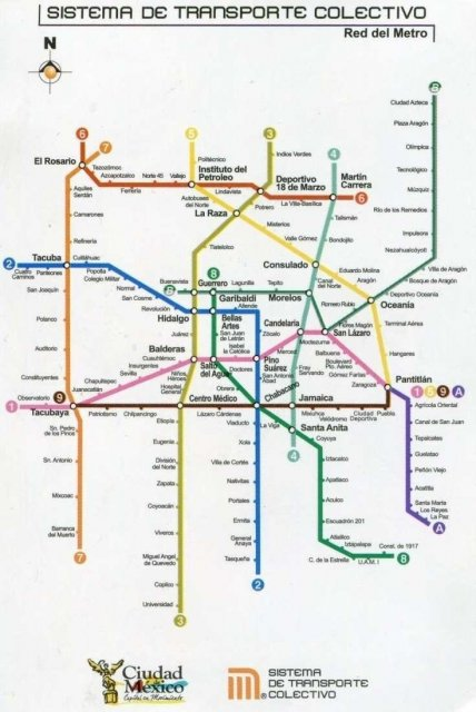 Схема метро Мехико