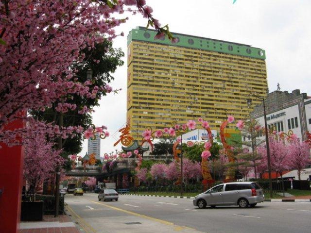 Улица в исскусственных цветах перед китайским новым годом, Сингапур