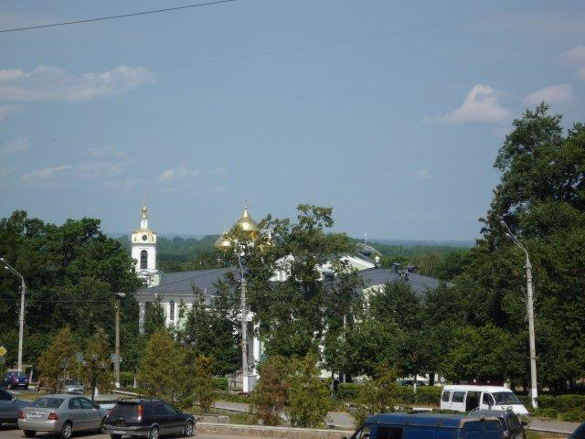 """Вид на успенский храм и кремль из парка """"Березовая роща"""""""