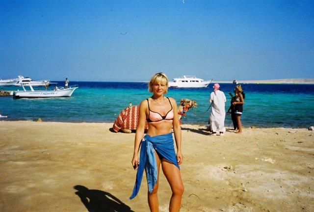 На пляже отеля в Хургаде