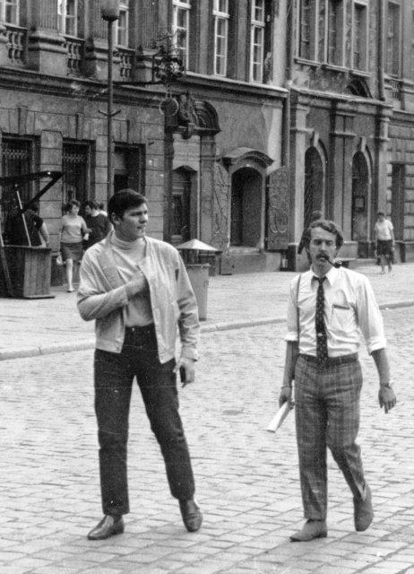 """Николай Ващилин и Володя Казалов  в турпоездке по КМО """" Спутник""""  в Познани. 1970"""