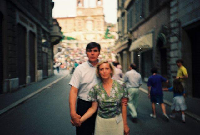 Николай Ващилин на пяцца д*Испания в Риме.1989