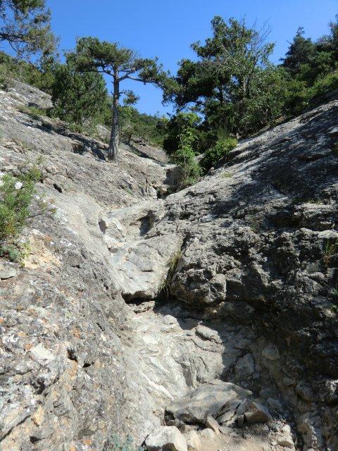 Спуск по каньону от можжевеловой рощи к Царскому пляжу.