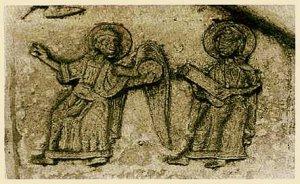 Ангел с евхаристическим хлебом и святой со свитком