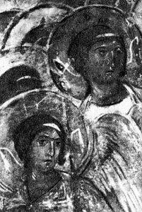 Ангелы. Фрагмент фрески «Страшный суд» Дмитриевского собора во Владимире. XII в.