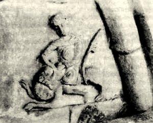 Давид разрывает пасть льву. Рельеф Дмитриевского собора во Владимире. Западный фасад
