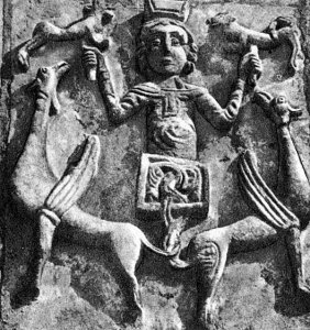 Полет Александра Македонского на небо. Рельеф на южном фасаде Дмитриевского собора во Владимире