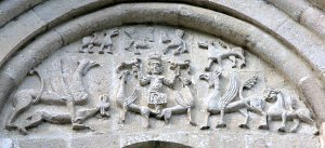 Вознесение грифонами Александра Македонского на небо. Фасады Дмитриевского собора во Владимире.