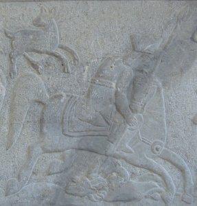 Мои фотографии персидских барельефов всадника, пронзавшего льва копьем