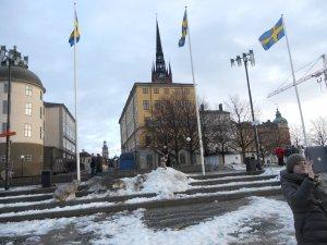 Снег на улицах Стокгольма