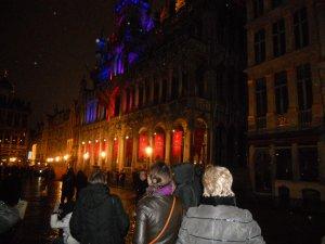 Подсветка здания городской администрации Брюсселя
