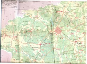 Карта Ивановской области с обозначенной от руки деревней Ермолино