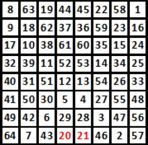 2021-й год на магическом квадрате восьмого порядка