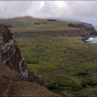 Вид на Ahu Tongariki, Остров Пасхи, Чили